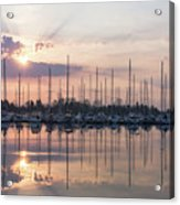 Softly - God Rays And Yachts In Rose Gold And Amethyst  Acrylic Print