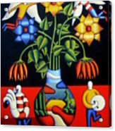 Softvase With Flowers And Figures Acrylic Print