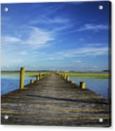 Sol Legare Wooden Dock Vanishing Point Acrylic Print