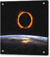 Solar Eclipse From Above The Earth Painting Acrylic Print