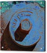 Solarized Rusty Fire Hydrant Acrylic Print