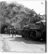 Soldiers Move Through A Smoke Filled Acrylic Print