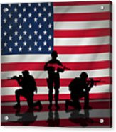 Soldiers On American Flag Acrylic Print