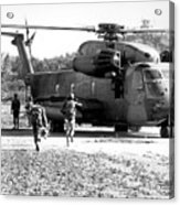 Soldiers Run To A Hh-53c Helicopter Acrylic Print