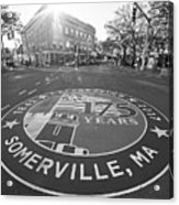 Somerville Ma Davis Square 175 Years Black And White Acrylic Print