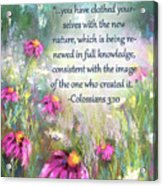 Song Of The Flowers With Bible Verse Acrylic Print