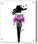 Sophisticated In Pink And Black Silk  Acrylic Print