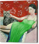 Sorcerer And Her Cat Acrylic Print