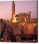 Sound And Light Show At Jerusalem City Acrylic Print