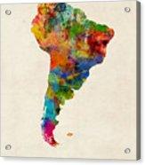 South America Watercolor Map Acrylic Print