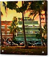South Beach Ocean Drive Acrylic Print by Steven Sparks
