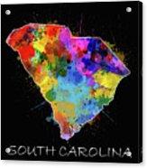 South Carolina Map Color Splatter 2 Acrylic Print