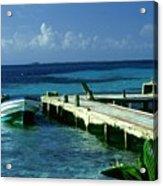 South Caye Belize Boat Dock Acrylic Print