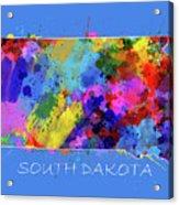 South Dakota Map Color Splatter 3 Acrylic Print