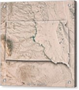 South Dakota State Usa 3d Render Topographic Map Neutral Border Acrylic Print
