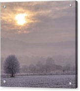 South Downs Hoar Frost Acrylic Print
