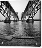 South Grand Island Bridge In Black And White Acrylic Print