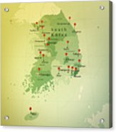 South Korea Map Square Cities Straight Pin Vintage Acrylic Print