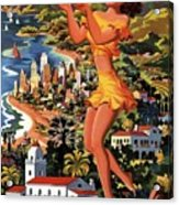 Southern California - United Air Lines - Retro Travel Poster - Vintage Poster Acrylic Print