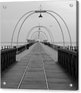 Southport Pier At Sunset With Walkway And Tram Lines Acrylic Print