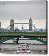 Southwark Bridge And The Tower Bridge Acrylic Print