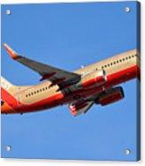 Southwest Boeing 737-7h4 N792sw Retro Gold Phoenix Sky Harbor January 21 2016 Acrylic Print