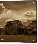 Southwest Navajo Rock House And Lightning  Acrylic Print