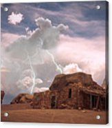 Southwest Navajo Rock House And Lightning Strikes Acrylic Print