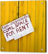 Space For Rent Acrylic Print
