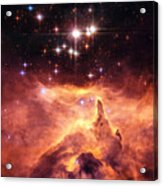Space Image Orange And Red Star Cluster With Blue Stars Acrylic Print