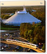 Space Mountain And Monorail Peach Acrylic Print