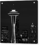 Space Needle At Night In Black And White Acrylic Print by Mark J Seefeldt
