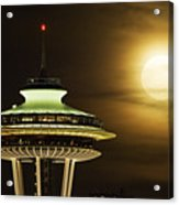 Space Needle Full Moon A150 Acrylic Print
