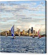 Space Needle Twilight Sail Acrylic Print