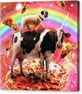 Space Pug Riding Cow Unicorn - Pizza And Taco Acrylic Print