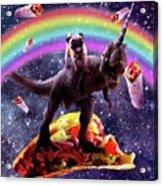 Space Pug Riding Dinosaur Unicorn - Taco And Burrito Acrylic Print