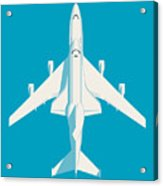 Space Shuttle And 747 Transport Jet - Cyan Acrylic Print