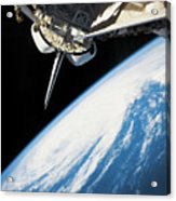 Space Shuttle In Outer Space Acrylic Print by Stockbyte