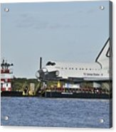 Space Shuttle Inspiration On A Barge Acrylic Print
