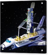 Space Shuttle With Hubble Telescope Acrylic Print