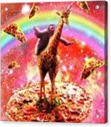 Space Sloth Riding Giraffe Unicorn - Pizza And Taco Acrylic Print
