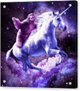 Space Sloth Riding On Unicorn Acrylic Print