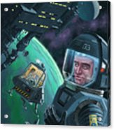 Spaceman With Space Station Orbiting Green Planet Acrylic Print