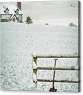 Spade Leaning Against Fence In The Snow Acrylic Print