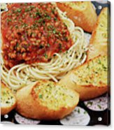 Spaghetti And Meat Sauce With Garlic Toast  Acrylic Print by Andee Design