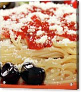 Spaghetti With Tomatoes And Olives Food Background Acrylic Print