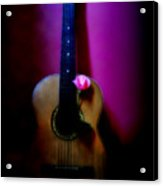 Spanish Guitar And Pink Rose Acrylic Print