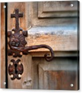 Spanish Mission Door Handle Acrylic Print by Jill Battaglia