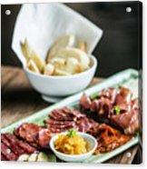 Spanish Smoked Meats Ham And Cheese Platter Starter Dish Acrylic Print