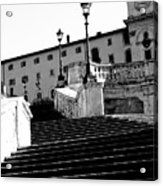 Spanish Steps Rome In Black And White Acrylic Print